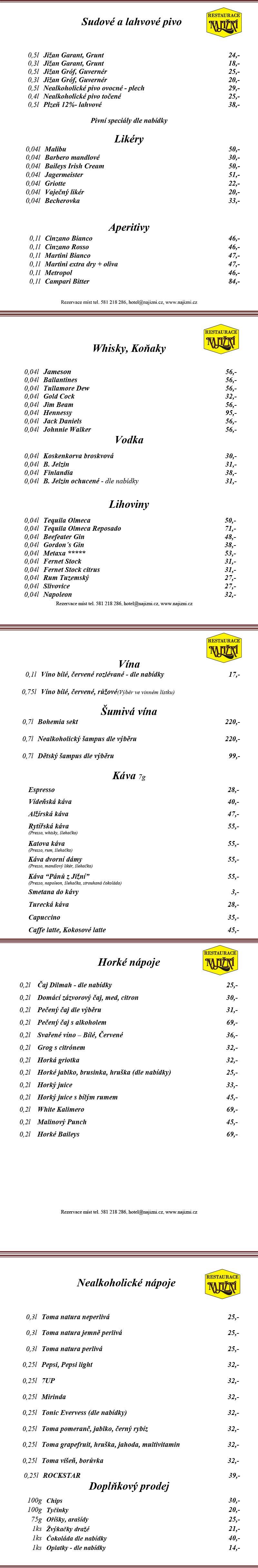 nápojový lístek restaurace Hotelu Na Jižní v Přerově